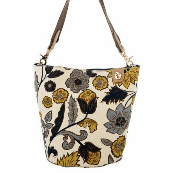 Spartina 449 Yemaya Newport Boho Bucket Bag Purse Ivory Floral