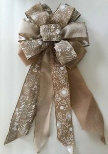 Mr & Mrs. Wedding Bow Natural Burlap Look