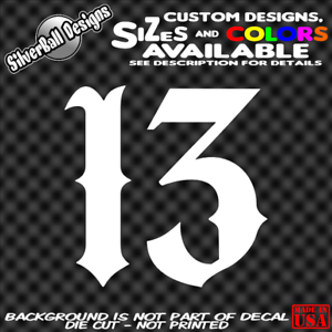 Lucky-Number-13-Custom-Vinyl-sticker-Laptop-Car-Truck-Window-Bumper-Charm-Evil