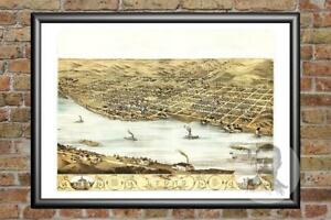 Old Map of Lyons, IA from 1868 - Vintage Iowa Art, Historic Decor