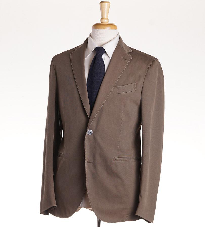 NWT 1530 BOGLIOLI Khaki Olive Stretch Twill Cotton Suit 40 R (Eu 50) Two Button