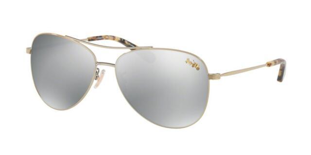 d019bf56d9c1d New Coach sunglasses HC7079 9322Z3 58mm Gold Silver Aviator Pilot AUTHENTIC  7079