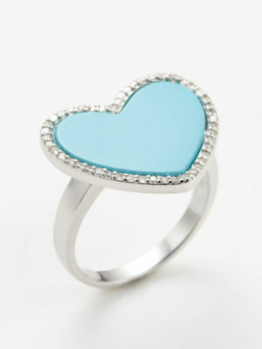 M2 by Mary Margrill Pave Diamond & Turquoise Heart Ring