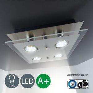 LED-Deckenleuchte-eckig-Decken-Lampe-4x-Spot-Schlafzimmer-Wohnzimmer-Beleuchtung