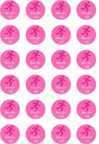 24x PRECUT RACE FOR LIFE//CANCER//PINK RUNNER RICE//WAFER PAPER CUP CAKE TOPPERS