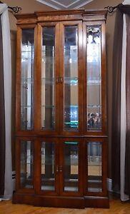 PULASKI Cherry China Cabinet Display Curio Beveled Glass ...