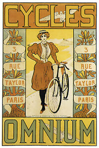 French Bicycle Girl Poster Stylish Graphics Room Decor Art Nouveau