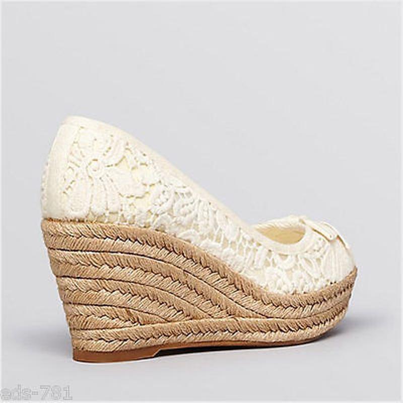 Nuevo Encaje En Caja Tory Burch Jackie Encaje Nuevo Alpargatas Cuñas Zapatos blancoo 10 M 75 mm 3  d985a7