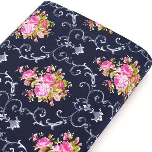100/% Cotton Fabric FQ Vintage Floral Bouquet Retro Print Dress Sew Quilting VK83