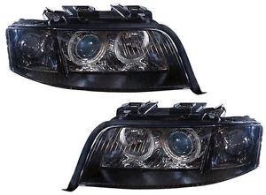 Black Smoked Angel Eyes Xenon D2s H7 Headlights Headlamps Audi A6 C5