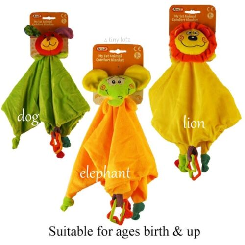 Baby Colourful velour Animal design comfort blanket with Teething Rings 0+Months