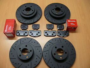 Ford-Focus-RS-2-0-Mk1-Dimpled-Grooved-Black-Brake-Discs-Front-Rear-Brembo-Pads