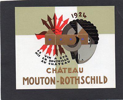 PAUILLAC 1EGCC ETIQUETTE CHATEAU MOUTON ROTHSCHILD 1924 CARLU   §21//02//20§
