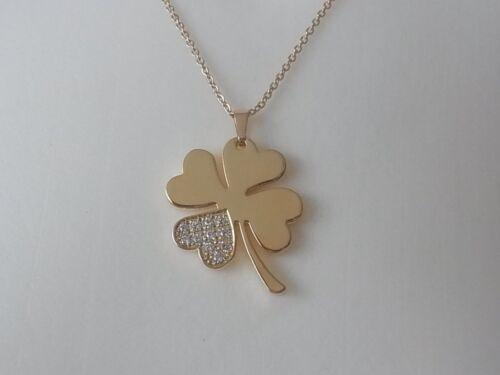 Echt Edelstahl Kette Halskette Vierblättrige Kleeblatt Glück Strass Zirkonia