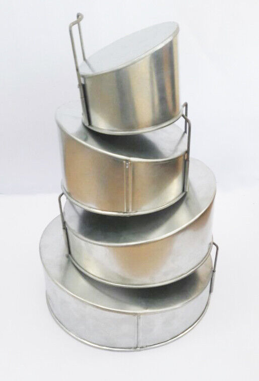 Set of 4 Tier Mini Topsy Turvy Round Multilayer Birthday Anniversary Cake Tins