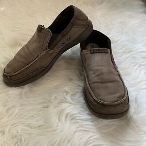 Crocs-Brown-Mens-Comfort-Slip-On-Canvas-Leather-Loafer-Shoe-Size-9