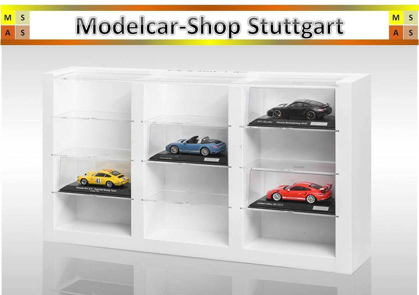 Porsche Model Car Display Case with Place for 12 Modellfahrzeuge on a Scale of 1