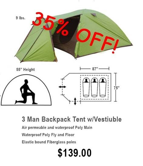 EP-3TV Lightweight, Mulit-color, 3 Person Tent with Large Vestibule