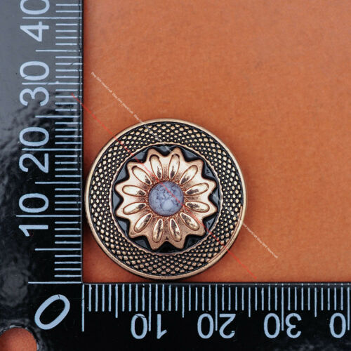 "10PC Gold Sun Flower Turquoise DIY Leathecraft Saddle Tack Conchos Screwback 1/"""