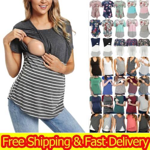 Women Pregnant Maternity Nursing Breastfeeding Clothes Vest Top Blouse UK Size