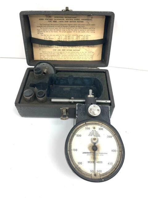 Antique JONES 4800 Portable Motor Tachometer Gage Meter 50-50,000 RPM USA