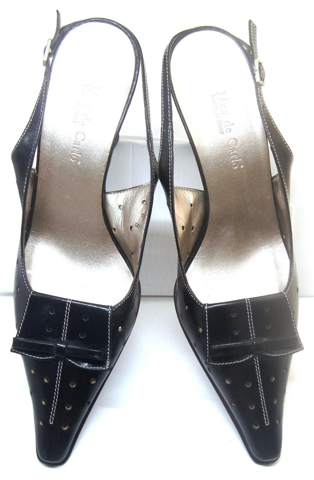 MAX DE CARLO Black Leather Slingback shoes w Bow Front & Perforation, , 6 B
