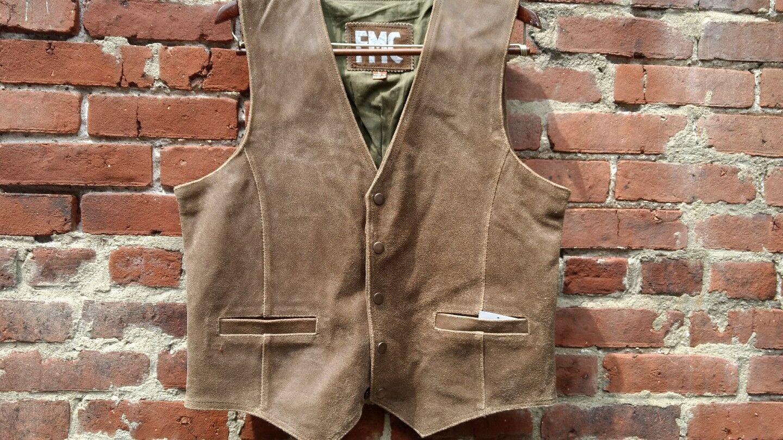 F.M.C Rare leather brown antiqued distress VINTAGE Vest NEW  rare MED slim cut