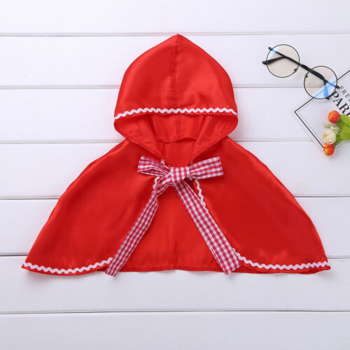 Kids Girls Little Red Hooded Cloak Cape Halloween Party Cosplay Costume Dress Up