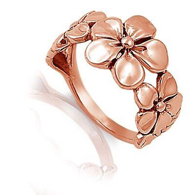 14k Rosegold Frangipani Blume Natur Blüte Sterlingsilber Ring Größe 3 - 13 Zu Verkaufen