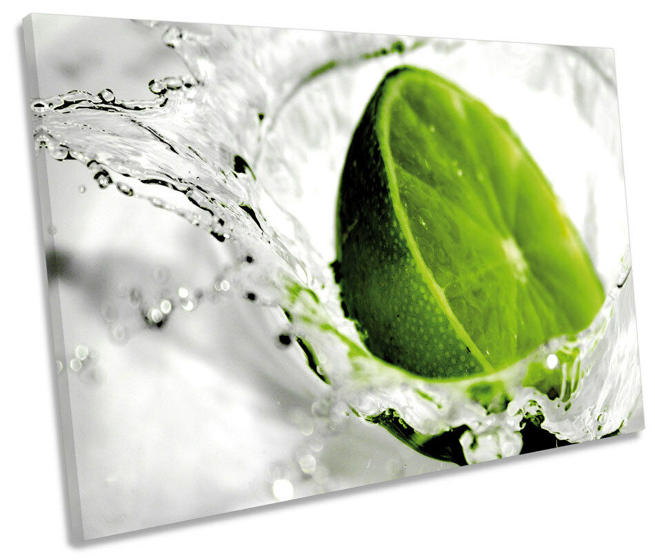 Grün Lime Kitchen Splash Fruit SINGLE CANVAS WALL ART Box Framed