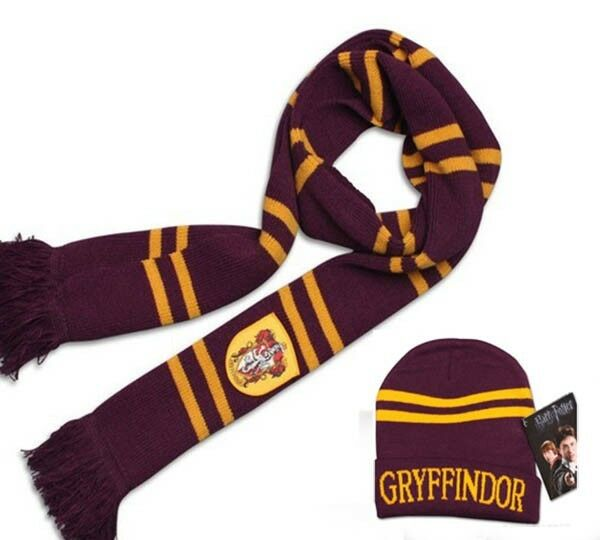 2pcs HARRY POTTER Gryffindor House Scarf+Cap/Hat Wrap Soft Warm Costume