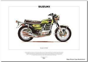 Details about SUZUKI GT550 - Motorcycle Fine Art Print - 2-stroke  Air-cooled 3-cylinder Indy