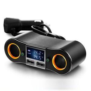 12-24V-Auto-KFZ-Ladegeraet-2-Steckdose-Dual-2-USB-Zigarettenanzuender-Adapter
