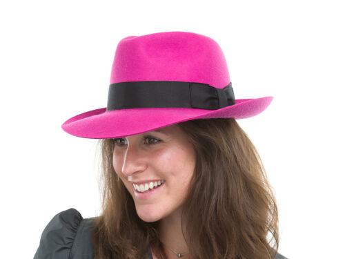BRAND NEW LADIES PINK//CERISE COLOUR WOOL TRILBY FEDORA HAT MF