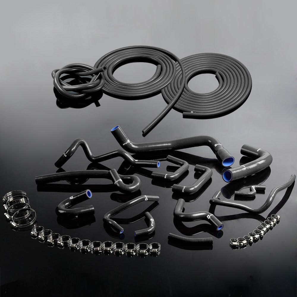 Silicone Radiator Hose Kit Clamps For Nissan Skyline Ecr33 R33 Gts-25t Gts-4 Rb25det Black