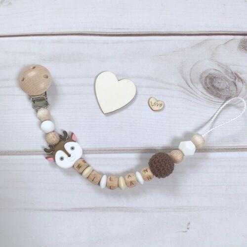 Schnullerkette Nuckelkette Schnullerhalter mit Namen Holz braun weiß beige Reh