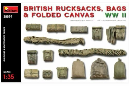 MINIART 35599 1//35 British Rucksacks Bags /& Folded Canvas WWII