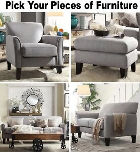 Image Is Loading Gray Linen Furniture Set Sofa Loveseat Accent Chair