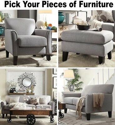 Pleasant Gray Linen Furniture Set Sofa Loveseat Accent Chair Ottoman Grey Sofas Chairs Ebay Ibusinesslaw Wood Chair Design Ideas Ibusinesslaworg