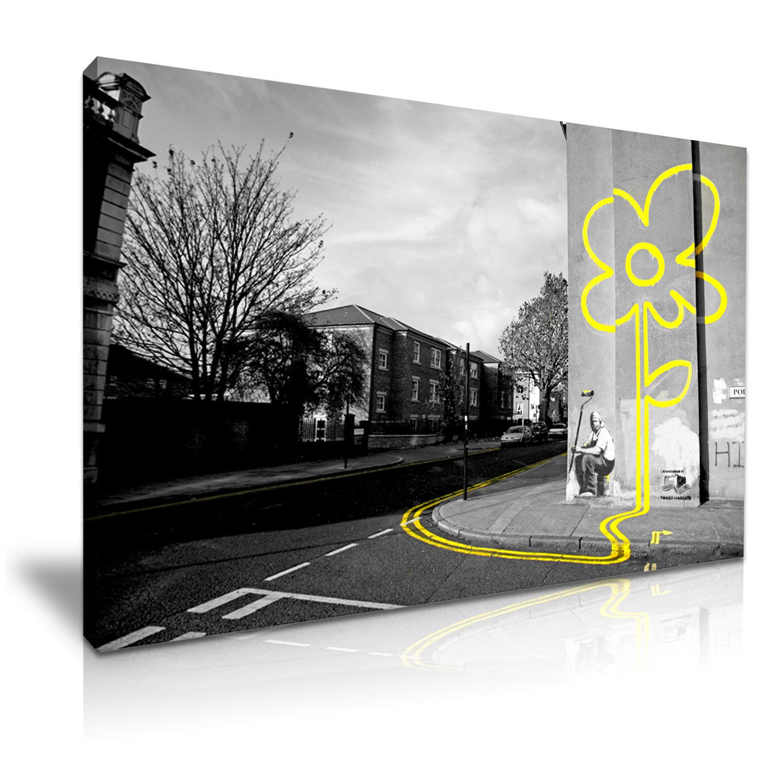 Banksy Graffiti ligne jaune fleur art moderne Imprimer Encadrée Encadrée Encadrée Toile box ~ 1pc 4ae0aa