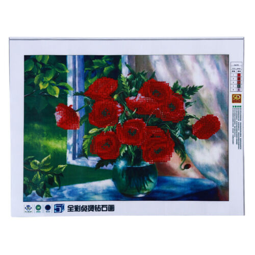 Craft 5d Diamond Painting Number Kits Painting Canvas Red Flower Partial Drill F