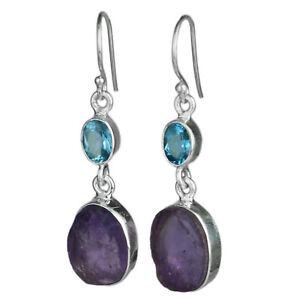 Raw-Amethyst-and-cut-Swiss-blue-topaz-Jewelry-925-Sterling-Silver-earrings-6-01