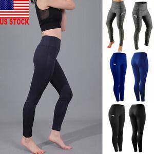 US-Women-039-s-High-Waist-Yoga-Pants-Pocket-Fitness-Sports-Capri-Leggings-Plus-Size
