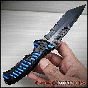 "8"" SPRING TACTICAL BLUE POLICE FOLDING TANTO BLADE Assisted Open Pocket Knife"