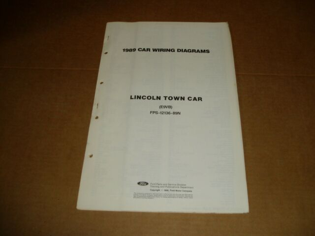 1989 Lincoln Town Car Wiring Diagram Sheet Service Shop
