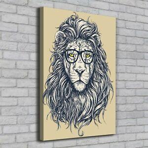 Details Zu Leinwand Bild Kunstdruck Hochformat 70x100 Bilder Hipster Löwe