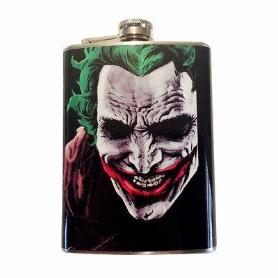 Joker Comic Batman Hip Flask Stainless Steel 8oz Liquor Whiskey Brandy Vodka...
