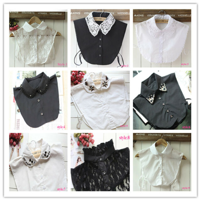 Women Detachable Faux Fake Lapel half Shirt dress fake Collar Necklace Choker
