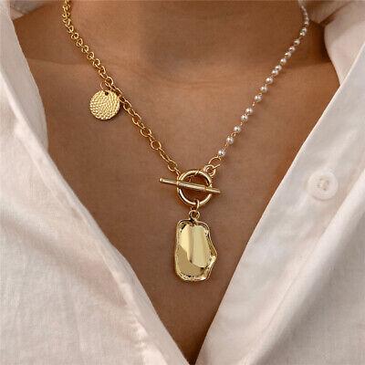 Fashion Women Gold Pearl Geometric Bib Statement Chain Pendant Necklace Jewelry  | eBay