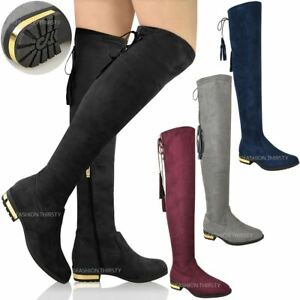 84fbb4ecbd7 LADIES WOMENS OVER THE KNEE HIGH LOW GOLD HEEL BOOTS TASSEL ZIP ...